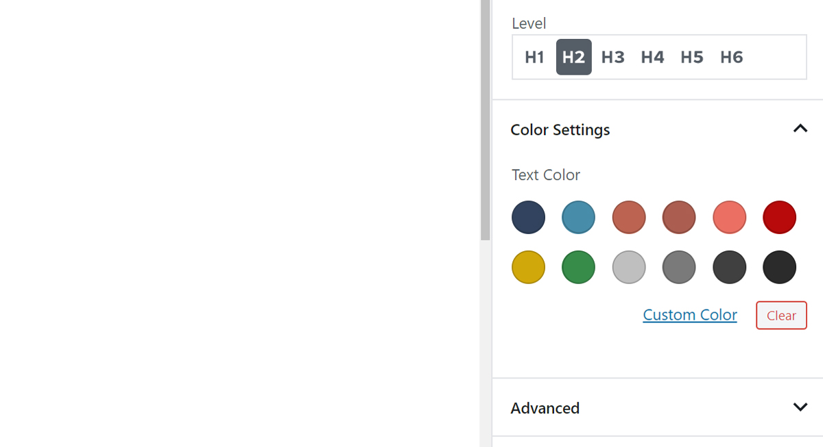 ColorPallette component with custom color values